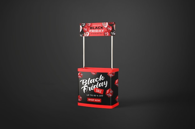 Maquette du vendredi noir sur le stand promotionnel ou le bureau de l'événement