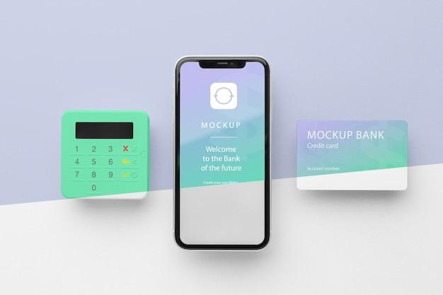 Maquette e-paiement avec smartphone et terminal de paiement