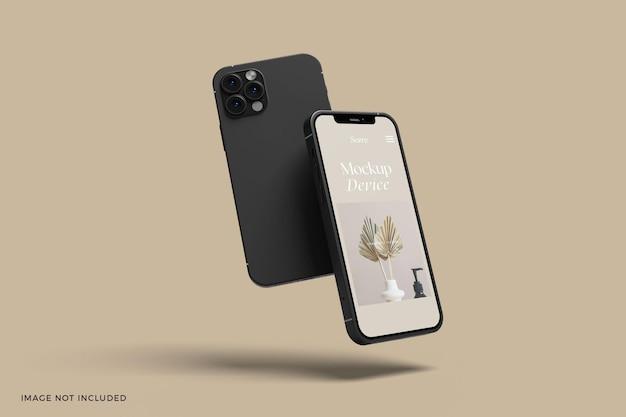 Maquette d'écran d'application de téléphones intelligents flottants