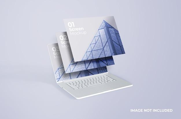 Maquette d'écran d'argile blanche macbook pro