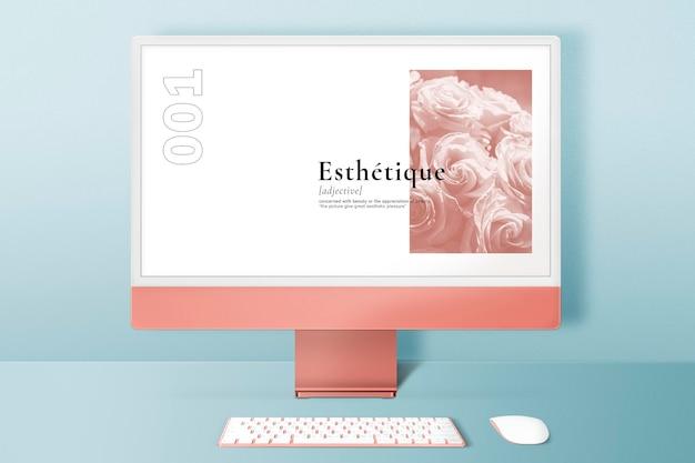 Maquette d'écran de bureau d'ordinateur psd style minimal d'appareil numérique pastel orange