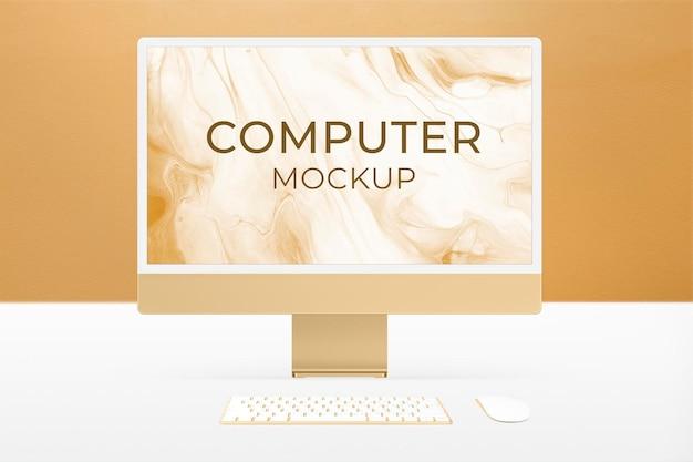 Maquette d'écran de bureau d'ordinateur psd style minimal de périphérique numérique jaune