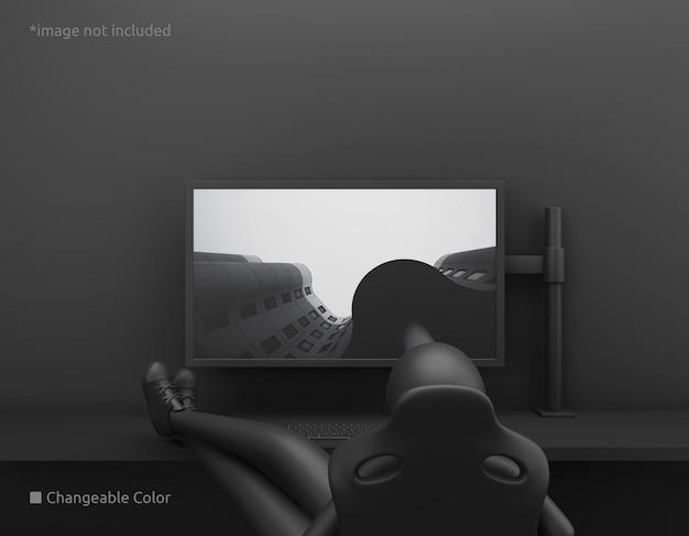 Maquette d'écran de bureau pc avec propriétaire paresseux