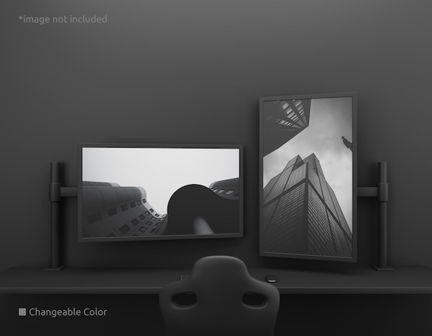 Maquette d'écran de bureau pc verticale et horizontale