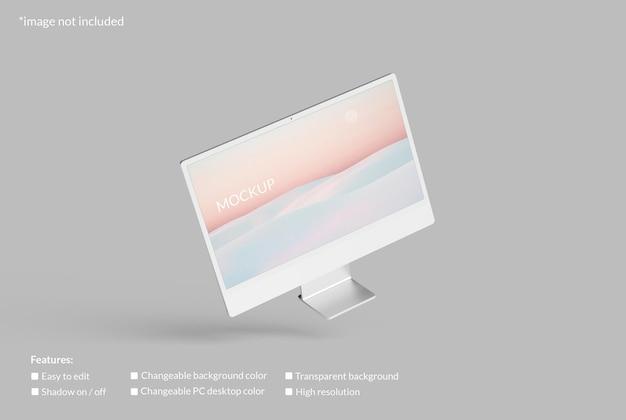 Maquette d'écran de bureau pc volant minimaliste