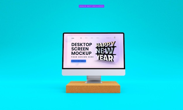 Maquette d'écran de bureau vue de face premium psd