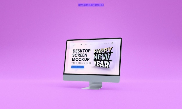 Maquette d'écran de bureau vue latérale premium psd