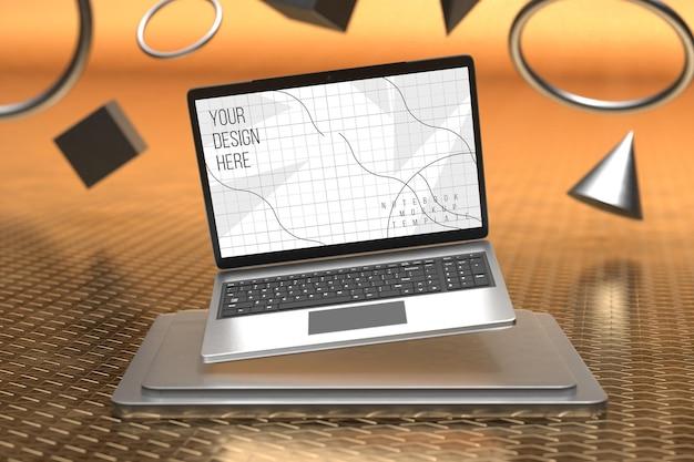 Maquette d'écran d'ordinateur portable au-dessus du piédestal carré avec fond de formes géométriques 3d