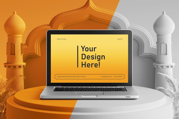 Maquette d'écran d'ordinateur portable couleur modifiable sur le thème islamique du ramadan eid mubarak de rendu 3d créatif