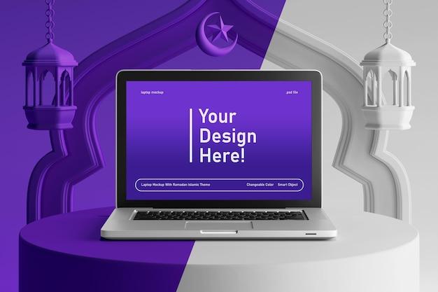 Maquette d'écran d'ordinateur portable couleur modifiable sur le thème islamique du ramadan kareem eid de rendu 3d créatif
