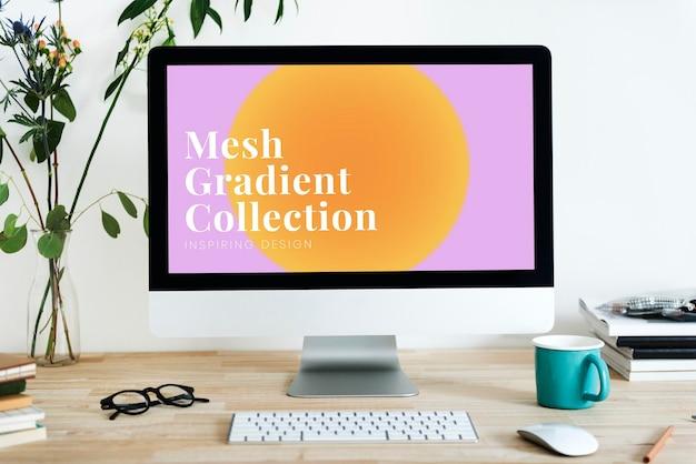 Maquette d'écran d'ordinateur psd avec un design en dégradé de maille