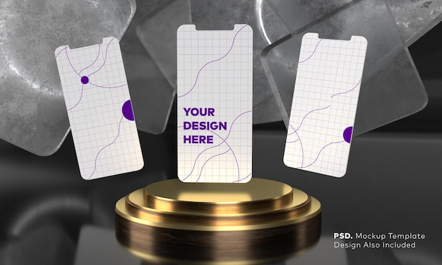 Maquette d'écran de smartphone au-dessus du piédestal triple cylindre doré avec affichage de la scène de présentation du produit sur fond noir par rendu 3d