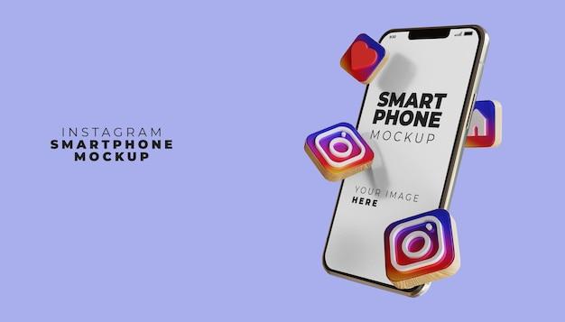 Maquette d'écran de smartphone instagram 3d