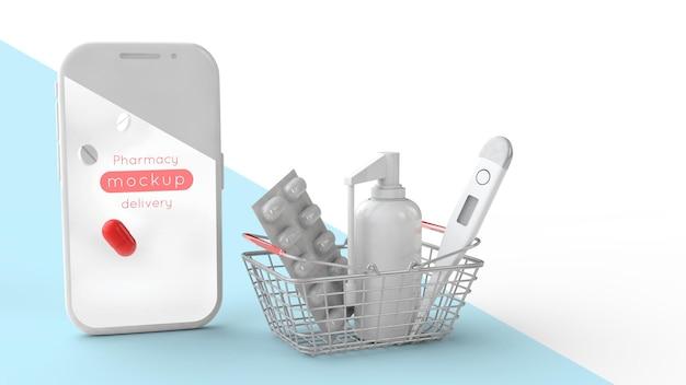 Maquette d'écran de smartphone et panier d'achat avec produits formasseptiques - pilules, spray et thermomètre. illustration 3d