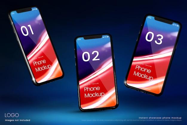 Maquette d'écran de smartphone de trois téléphones flottants