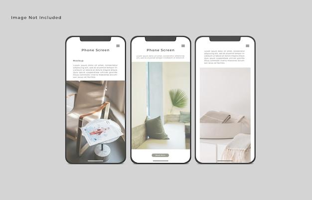 Maquette d'écran de smartphone vue d'angle avant isolé