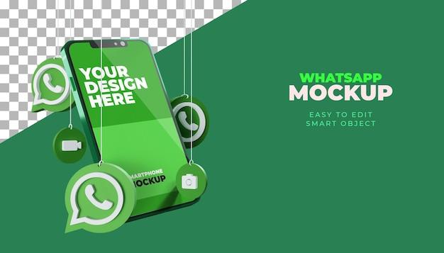 Maquette d'écran de smartphone whatsapp 3d
