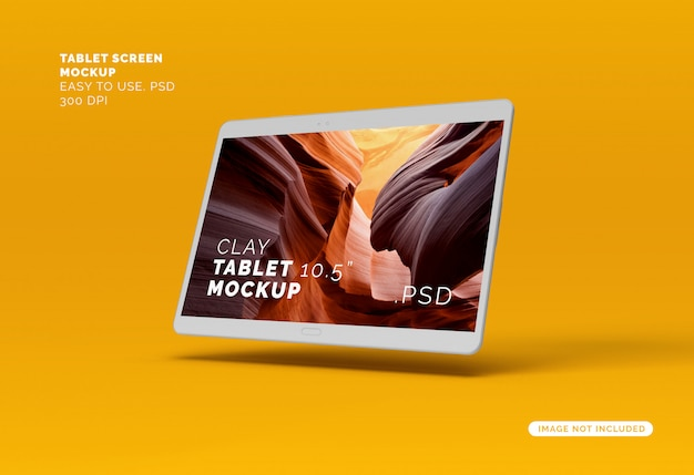Maquette d'écran de tablette d'argile volante