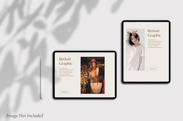 Maquette d'écran de tablette minimaliste psd premium