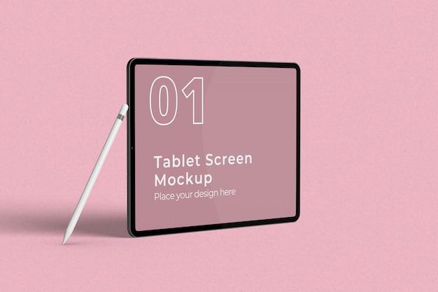 Maquette d'écran de tablette paysage avec crayon gauche