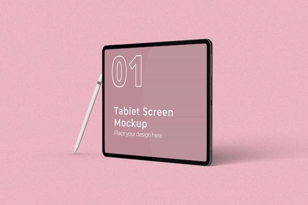 Maquette d'écran de tablette paysage avec crayon vue droite