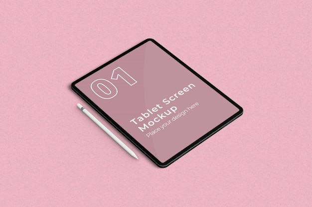 Maquette d'écran de la tablette et vue en angle gauche du crayon