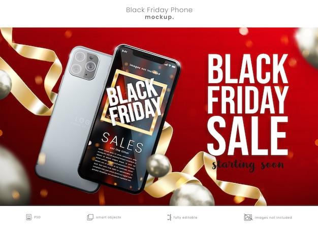 Maquette d'écran de téléphone black friday sur fond rouge avec des rubans