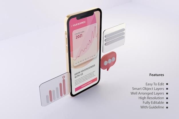 Maquette d'écran de téléphone en or rose avec modèle de présentation d'application mobile business grow psd modifiable