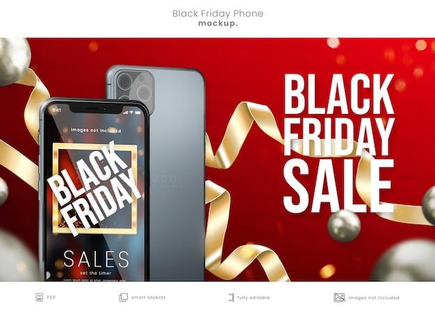 Maquette d'écran de téléphone portable black friday sur fond rouge avec des rubans