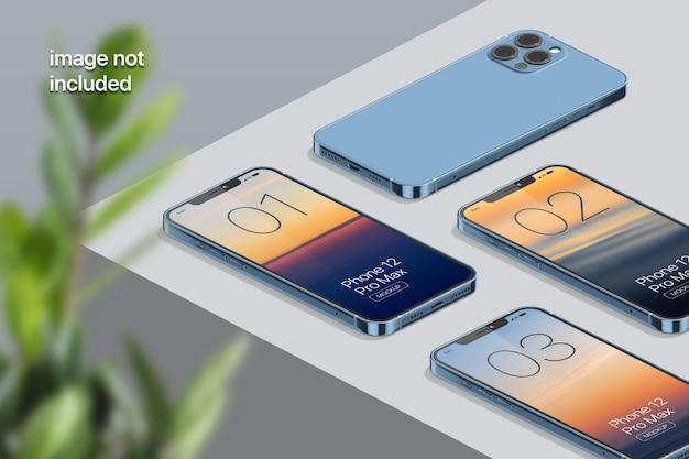 Maquette d'écran de téléphone portable isométrique