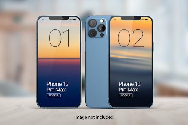 Maquette d'écran de téléphone portable à trois supports