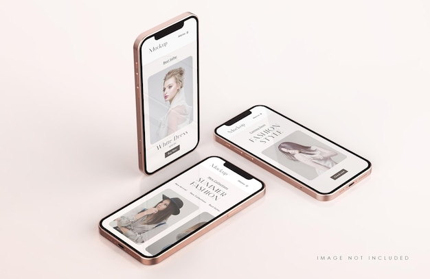 Maquette d'écran de téléphone rouge et or avec modèle de présentation d'application mobile