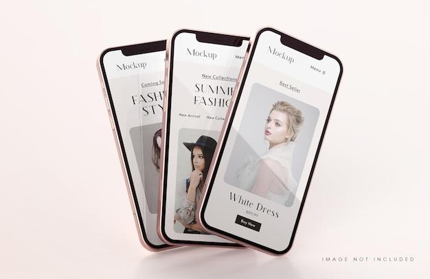 Maquette D'écran De Téléphone Rouge Et Or Avec Modèle De Présentation D'application Mobile PSD Premium