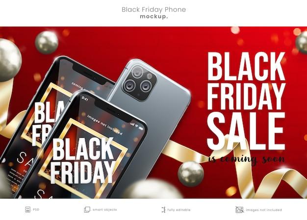 Maquette d'écran de téléphone vendredi noir avec rubans