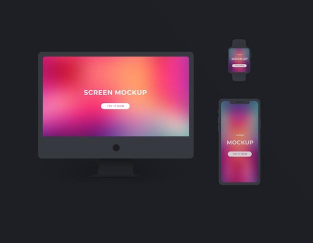 Maquette d'écrans de dark devices