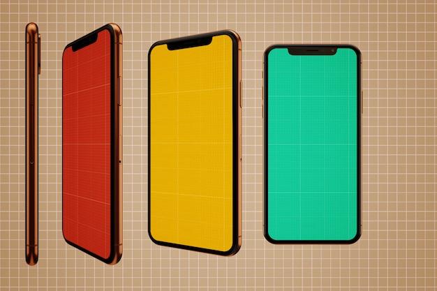 Maquette d'écrans mobiles colorés