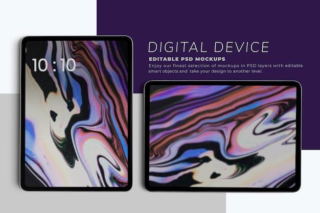 Maquette d'écrans de tablette en vertical et horizontal