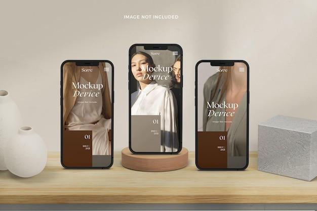 Maquette d'écrans de téléphone intelligent debout réalistes vue de face