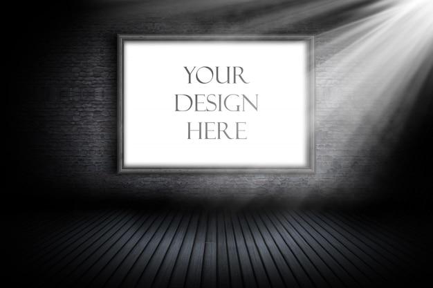 Maquette éditable avec cadre d'image vide sous le projecteur