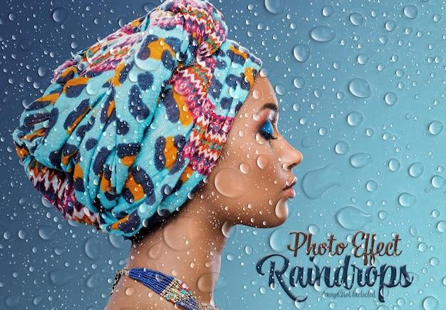 Maquette d'effet photo de gouttes de pluie