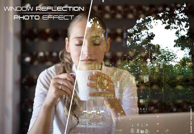Maquette d'effet photo de réflexion de verre de fenêtre