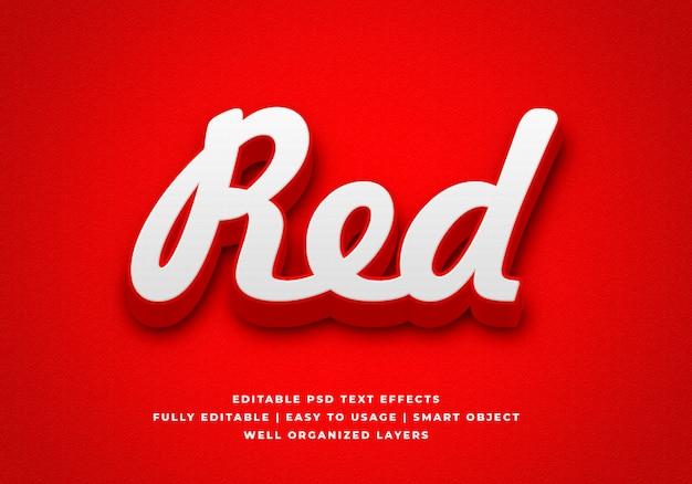 Maquette d'effet de style de texte 3d rouge