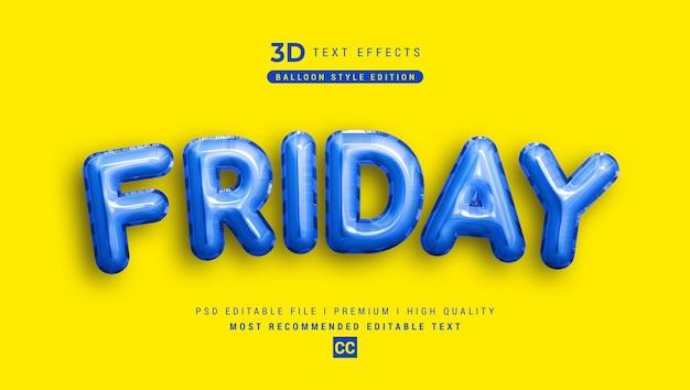 Maquette d'effet de style de texte 3d vendredi