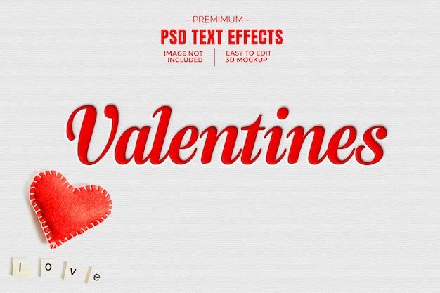 Maquette d'effet de texte 3d de la saint-valentin