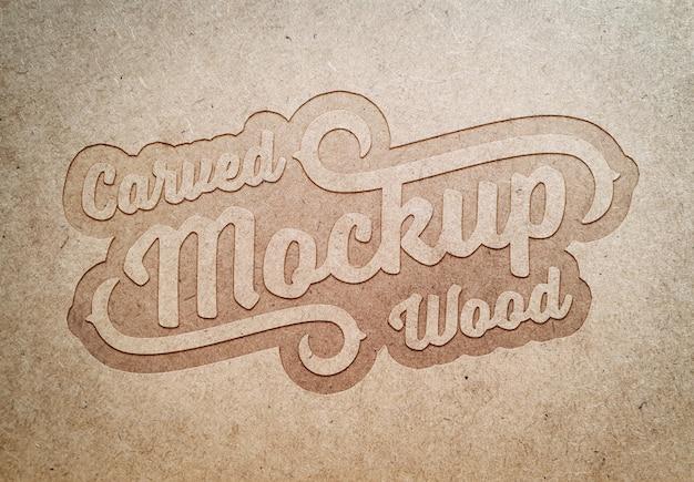 Maquette d'effet de texte en bois sculpté