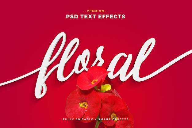 Maquette d'effet de texte floral de fleur rouge