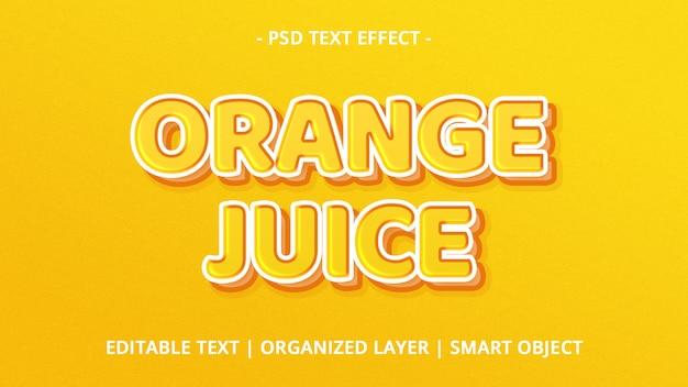 Maquette d'effet de texte de jus d'orange