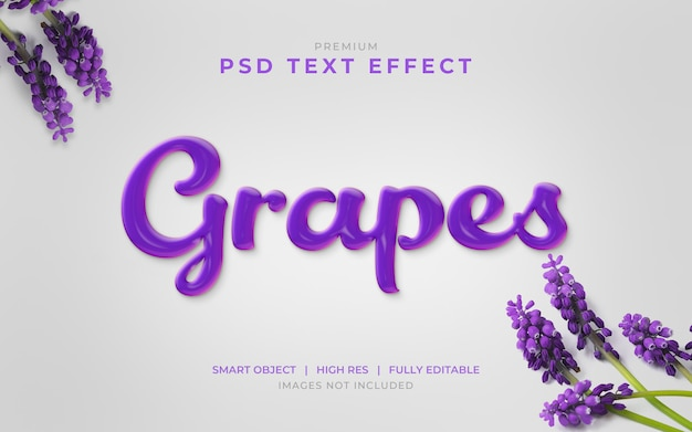 Maquette d'effet de texte psd grapes