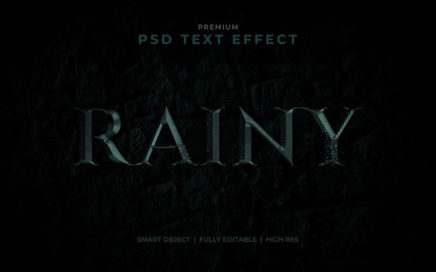 Maquette effet de texte psd rainy metal