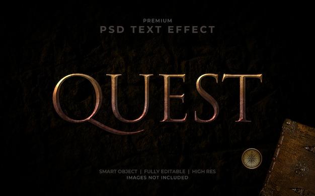 Maquette d'effet de texte psd treasure quest